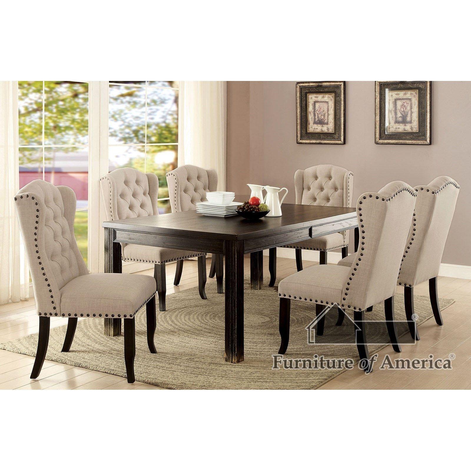 Sania Ii Bar Httable 4 Wingback Chairsfurniture Of America Amazing Upscale Dining Room Furniture Design Ideas