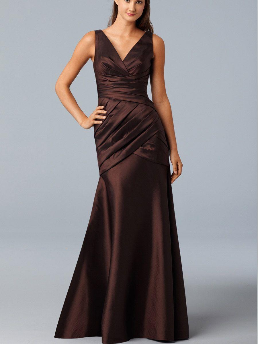 Chocolate Sleeveless Taffeta V Neck Trumpet Evening Prom Dress Classic Bridesmaids Dresses Bridesmaid Gown Wedding Dresses Lace