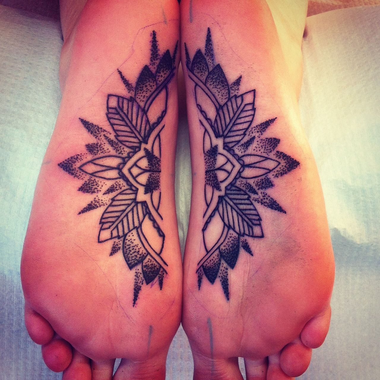 Tattoo Designs Breast: Split Foot Mandala.