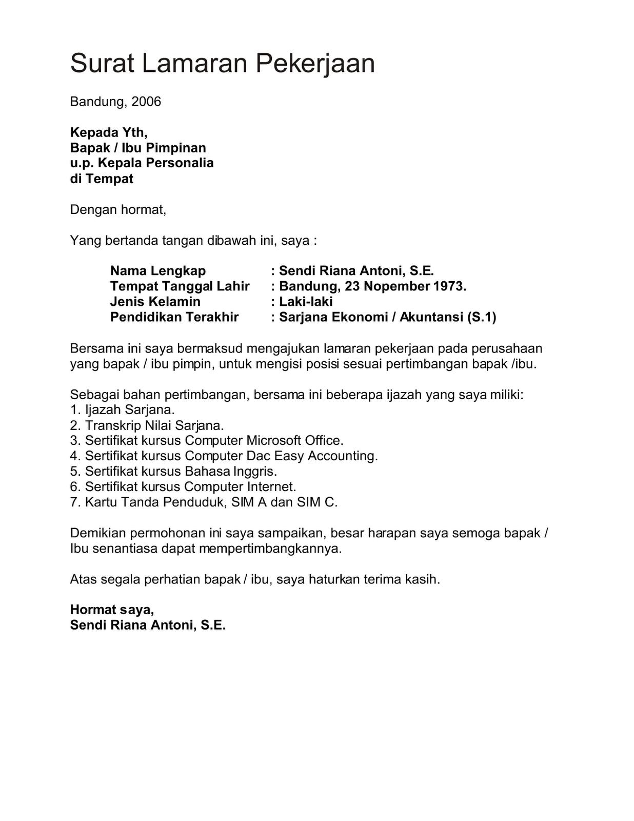 contoh surat lamaran kerja operator produksi ben