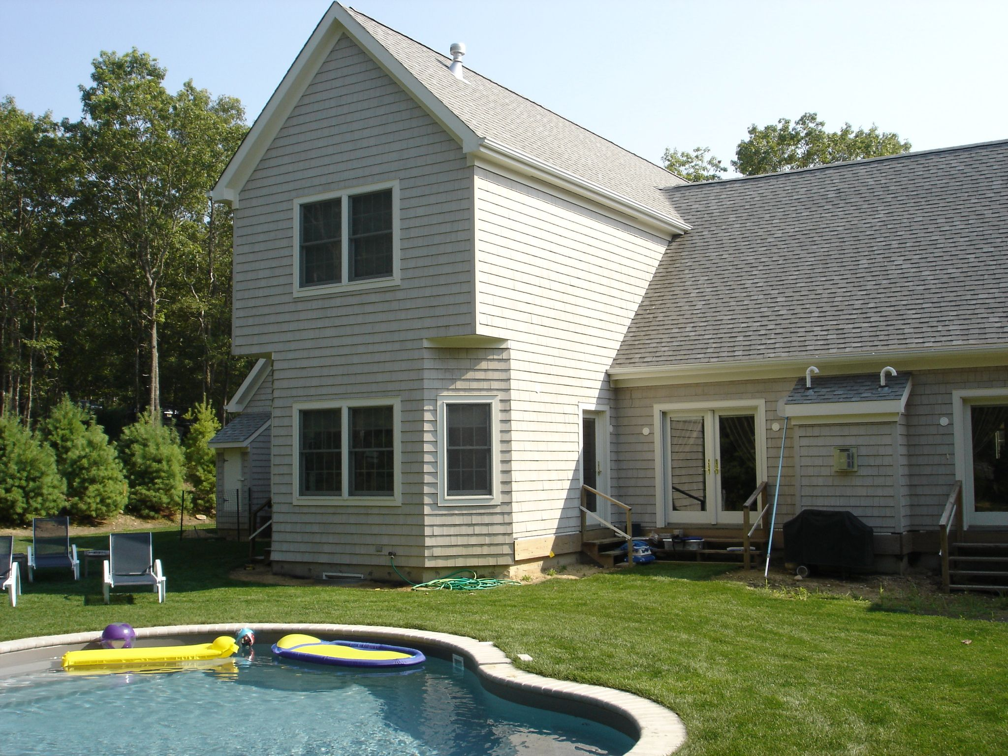 Custom Modular Home With Grey Shakes Two Story Cape Cod