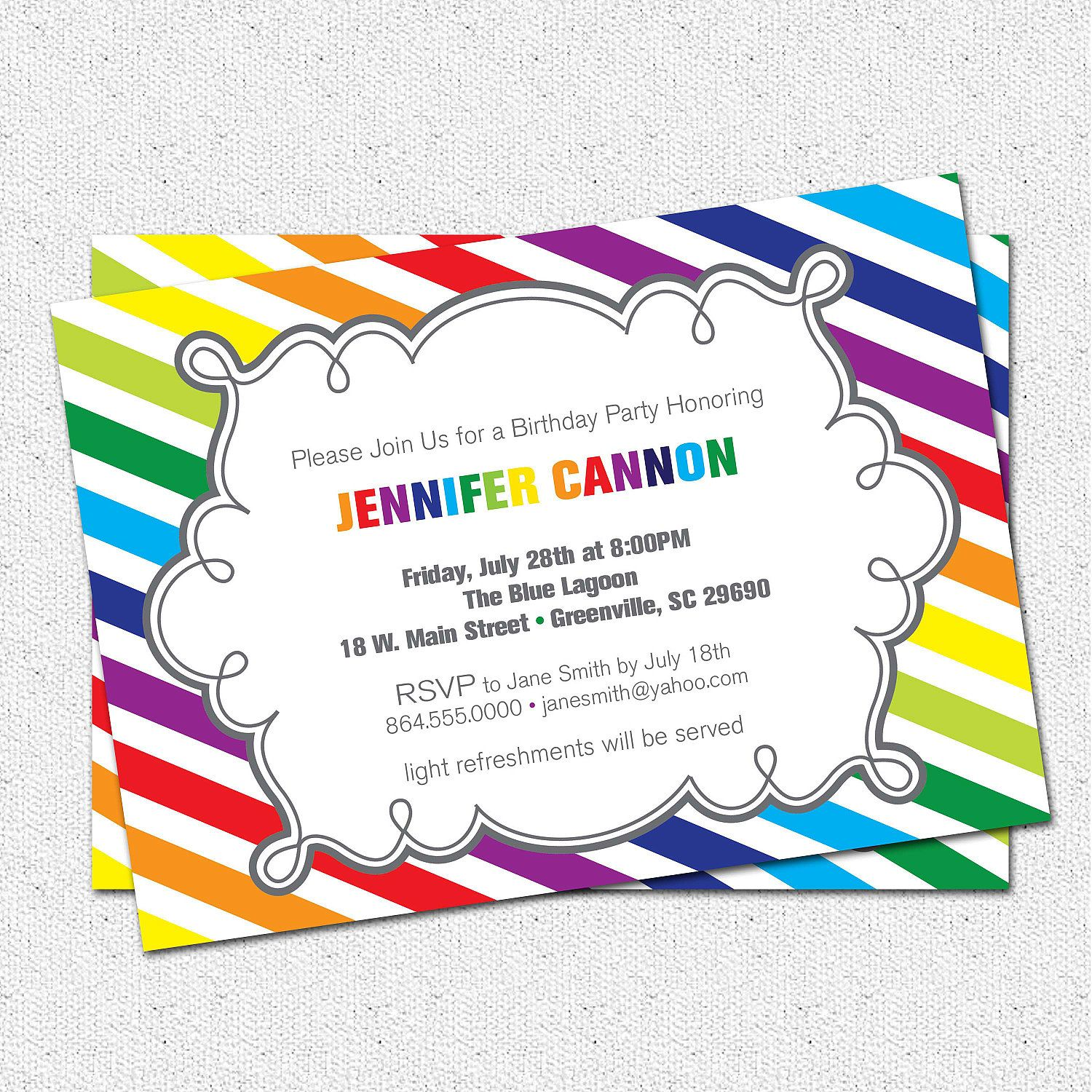 Rainbow Invitation Template  Google Search  Preschool Graduation