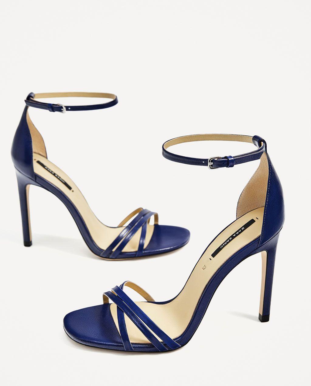 Sandalia Piel Estados Tiras Ver Todo Tacón Zara Mujer Zapatos FRSF4