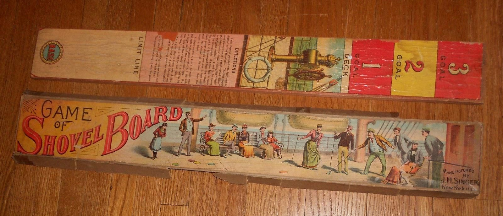 c1890 Antique Board Game - Game of Shovel Board - J. H. Singer