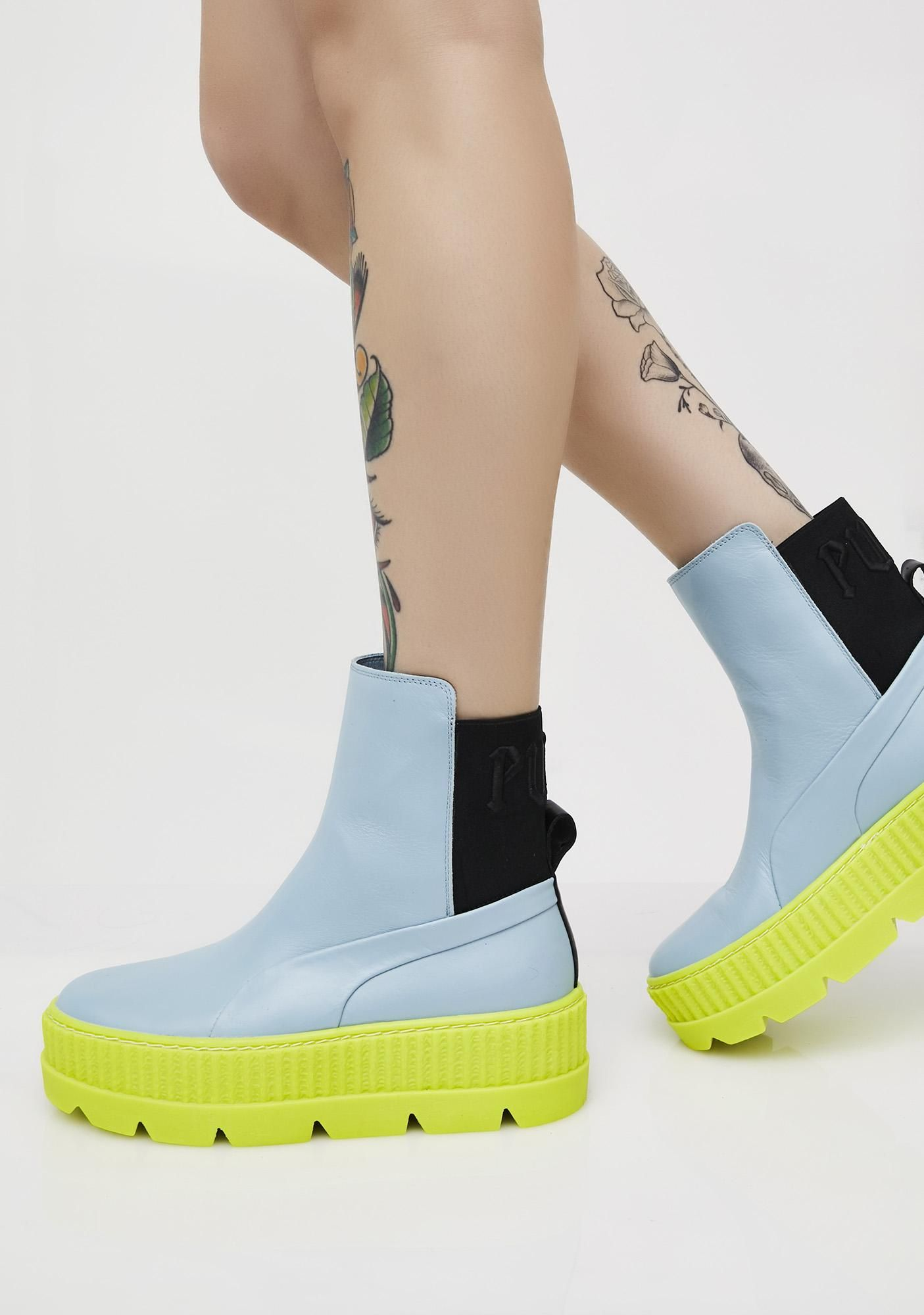 96d0e8aa8acc74 PUMA Neon FENTY PUMA By Rihanna Chelsea Sneaker Boots got ya on another  level. These black