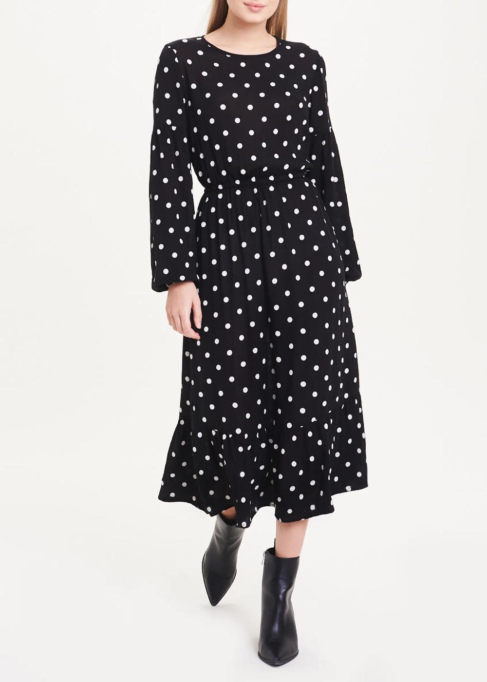 Black Long Sleeve Polka Dot Midi Dress Black Midi Dress Dresses Black Midi Dress [ 1400 x 1000 Pixel ]