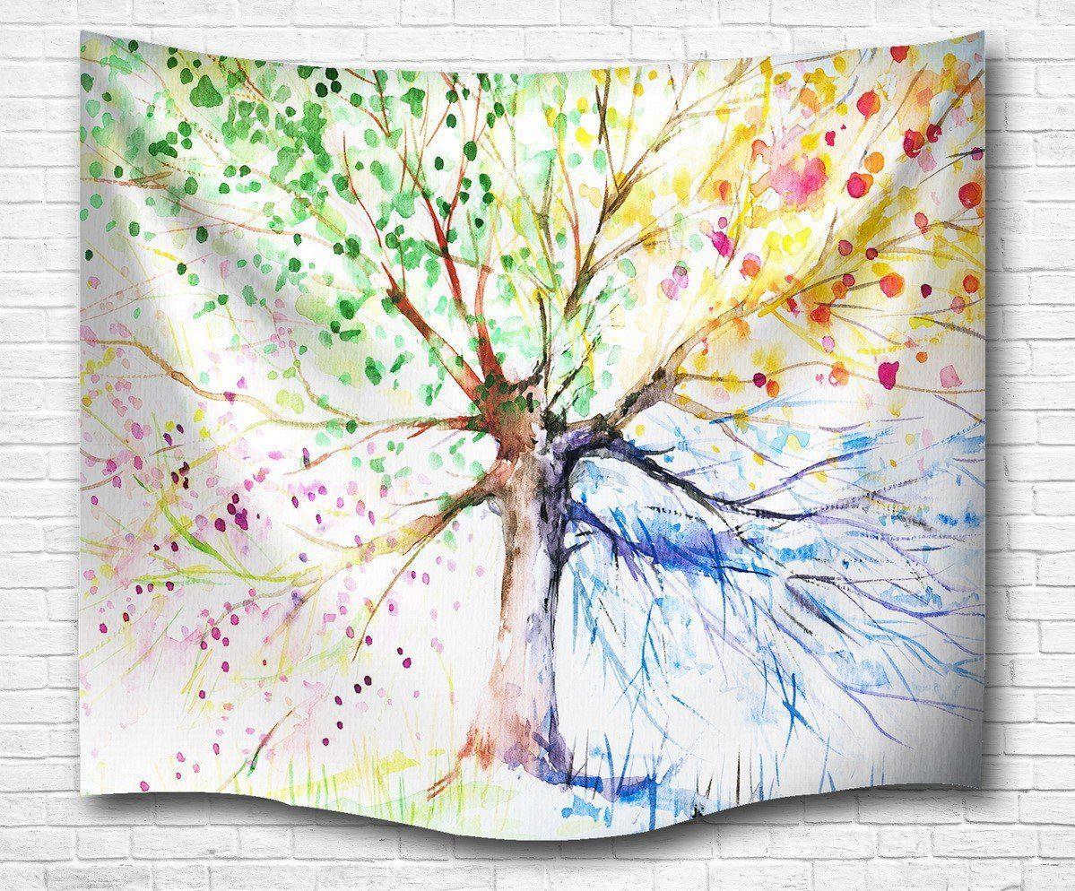 A.Monamour Bunte Zeichnung Baum Vier Jahreszeiten Bild Drucken Natur ...