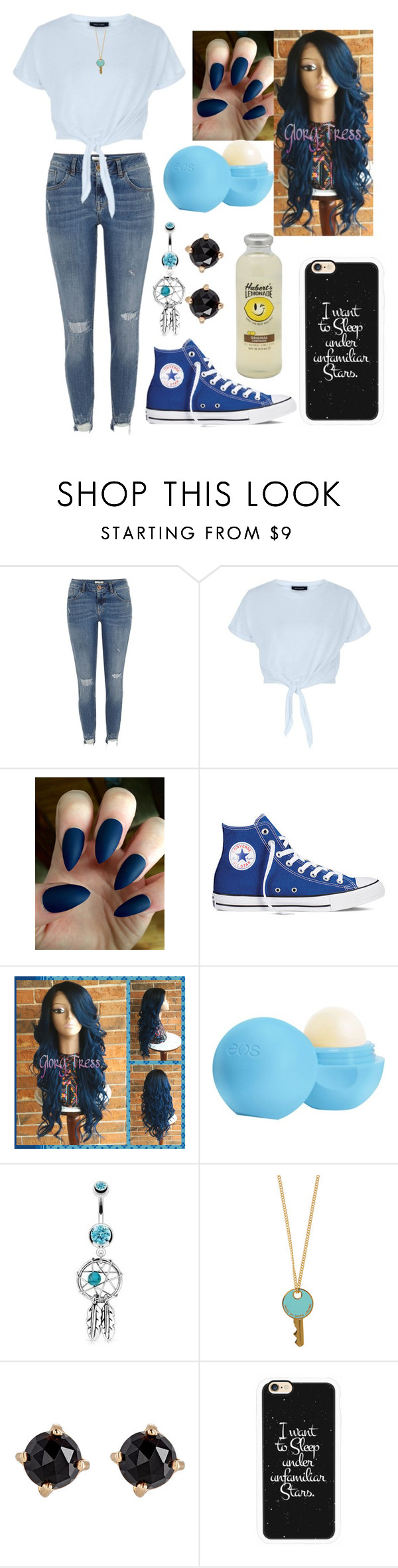 """just a small town girl"" by life-is-dead ❤ liked on Polyvore featuring River Island, New Look, Converse, Eos, Bling Jewelry, Marc by Marc Jacobs, Irene Neuwirth and Casetify"