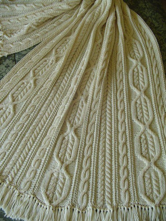 Aran Knit Afghan -- Handknit afghan - fisherman knit - Hand Knit ...