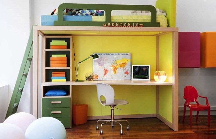 Kids Bedroom Ideas For Small Spaces with red closet without mirror