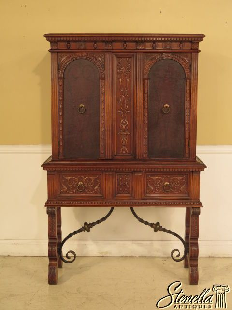 23722E: ROCKFORD Tudor Style Walnut China Or Bar Cabinet - 23722E: ROCKFORD Tudor Style Walnut China Or Bar Cabinet Kitchen