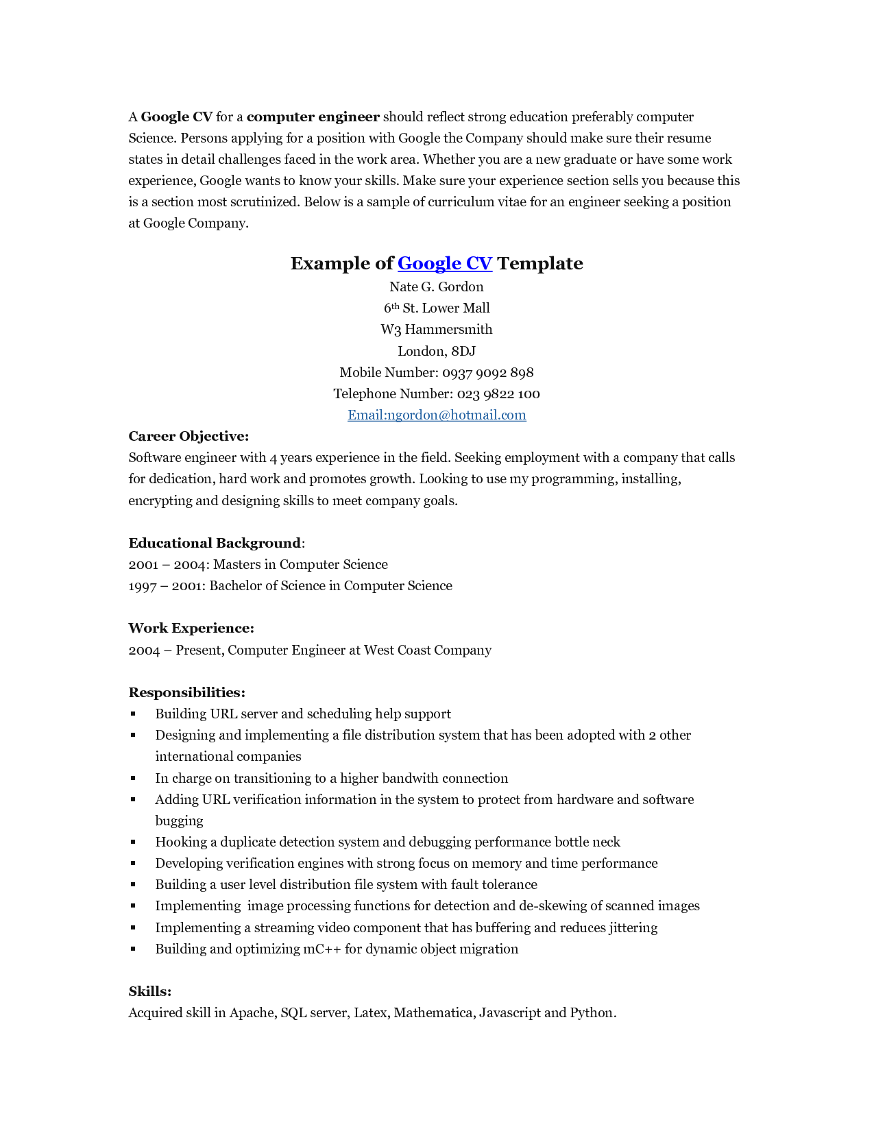 Google Templates Resume   HttpWwwJobresumeWebsiteGoogle
