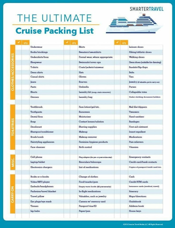 Cruise Packing List The Ultimate Checklist Of What To Pack For A Tips First