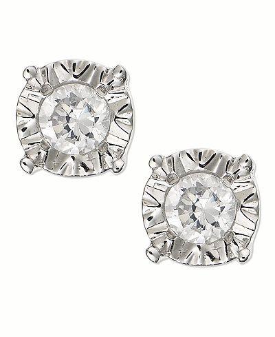 Diamond Stud Earrings In 10k White Gold 1 4 Ct T W