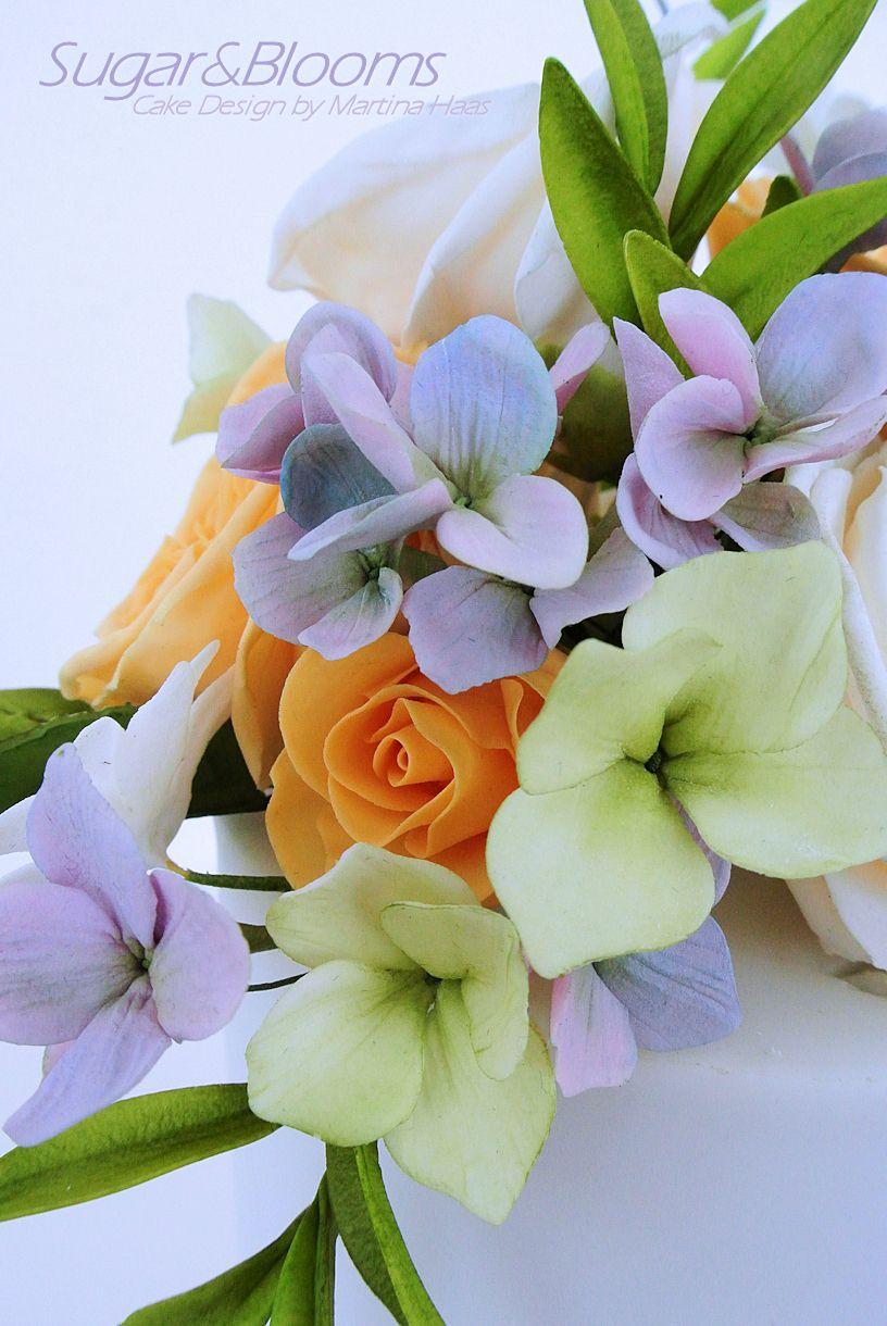 Sugar Flower Arrangement In Lavender Yellow And Green Shades