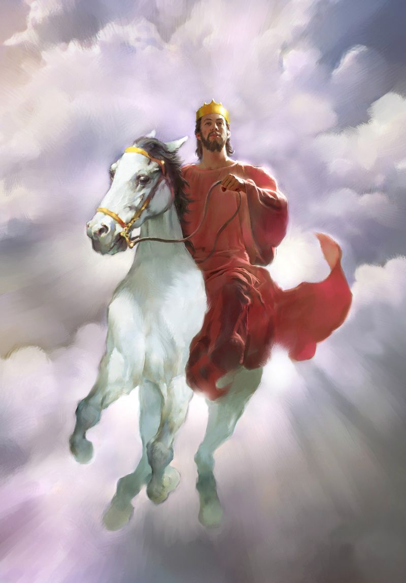 Bildergebnis für the king jesus is coming riding on a horse with crown images