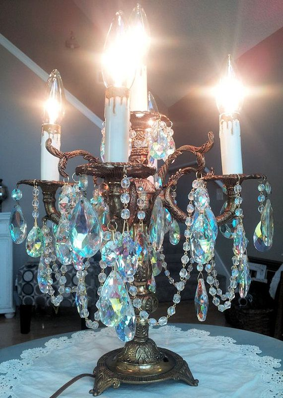 antique brass candelabra chandelier table lamp by