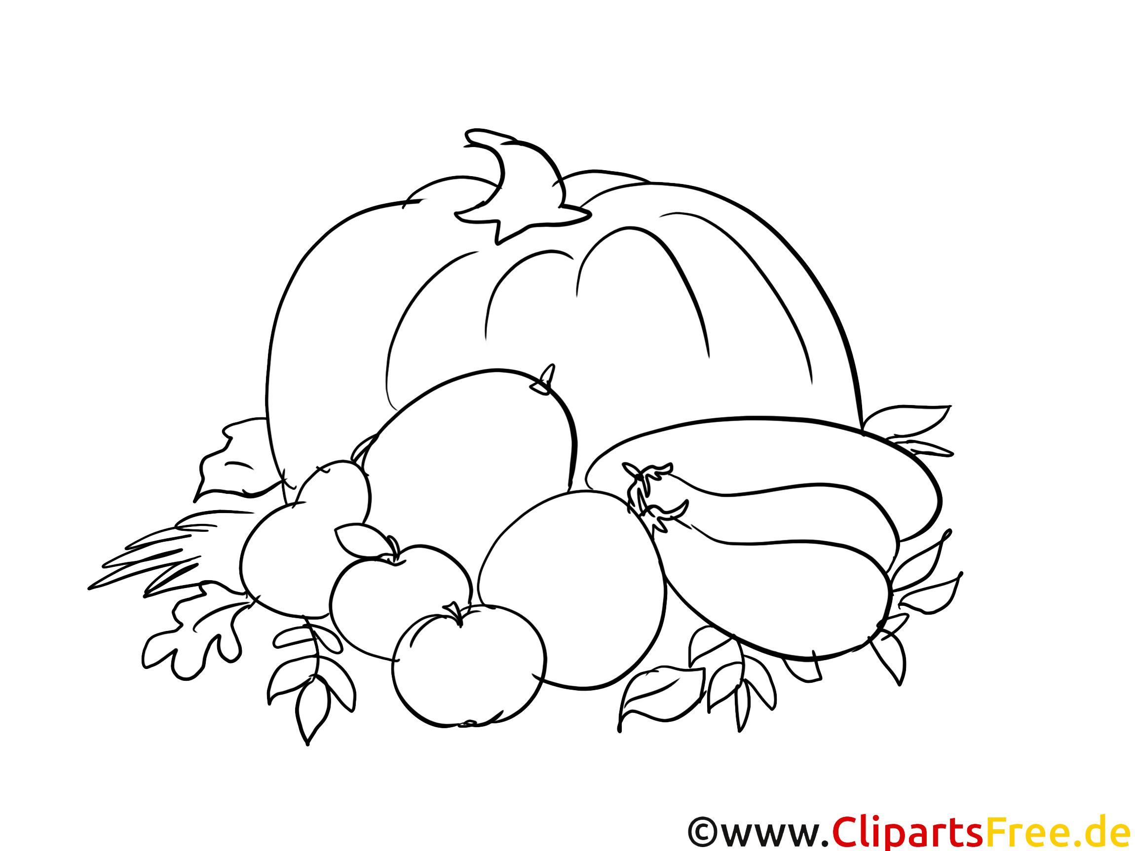 Herbst-Ernte - Kostenlose Ausmalbilder Herbst  Ausmalbilder