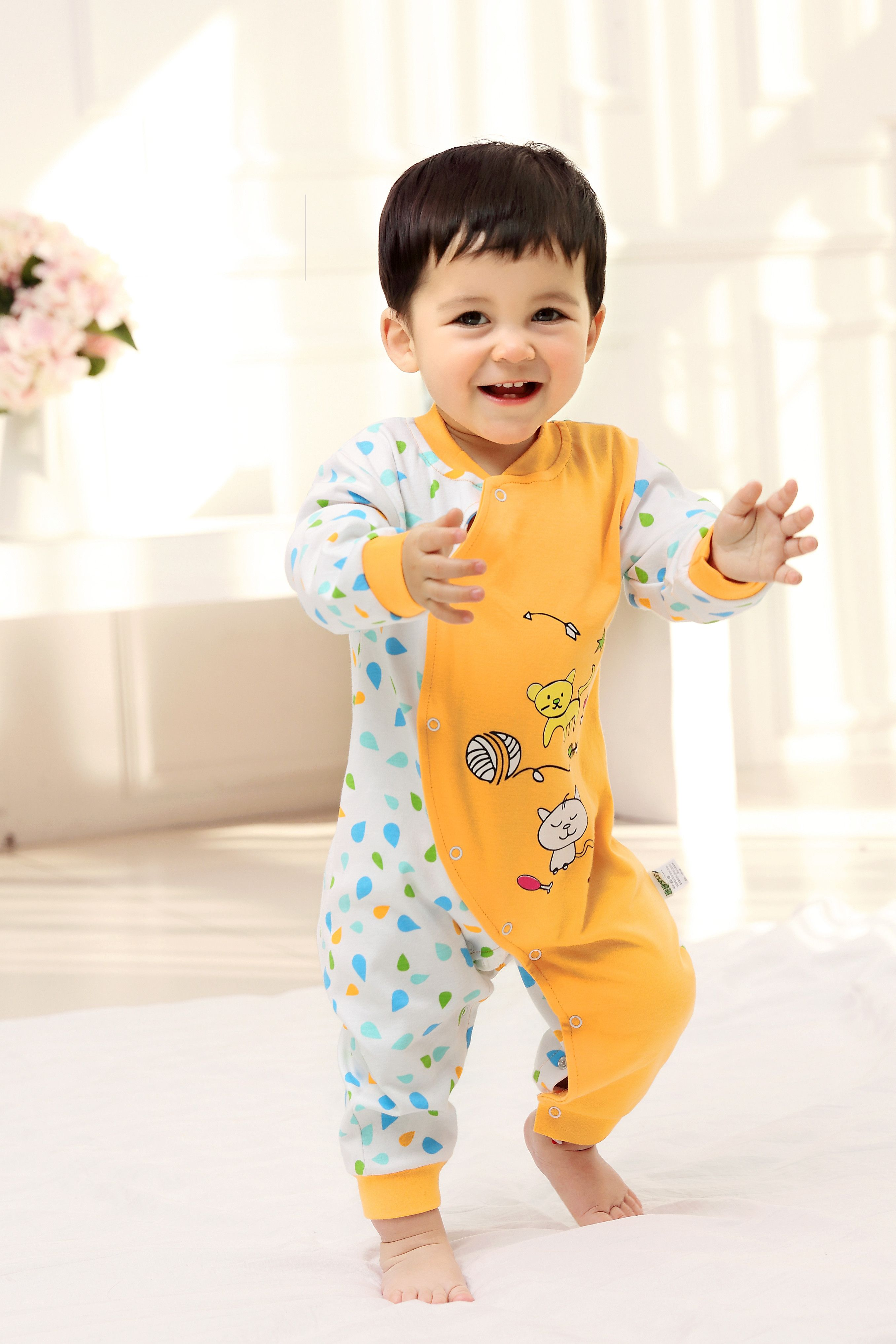 2015 New Cute Fashion Bear Red Spring Autumn Baby Clothing Romper