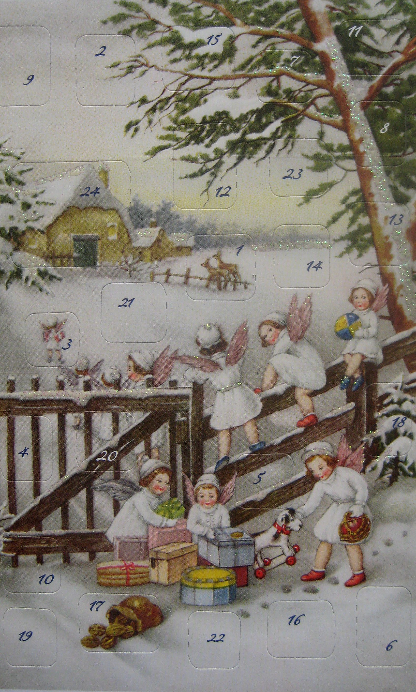 Sweet angels advent card made in Germany