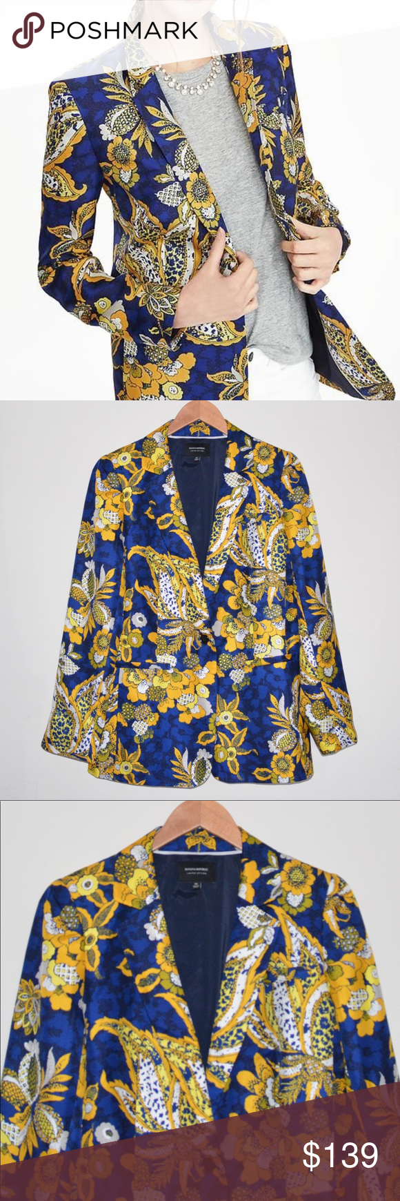 Banana Republic Avery Women's Floral Jacket NWOT Floral
