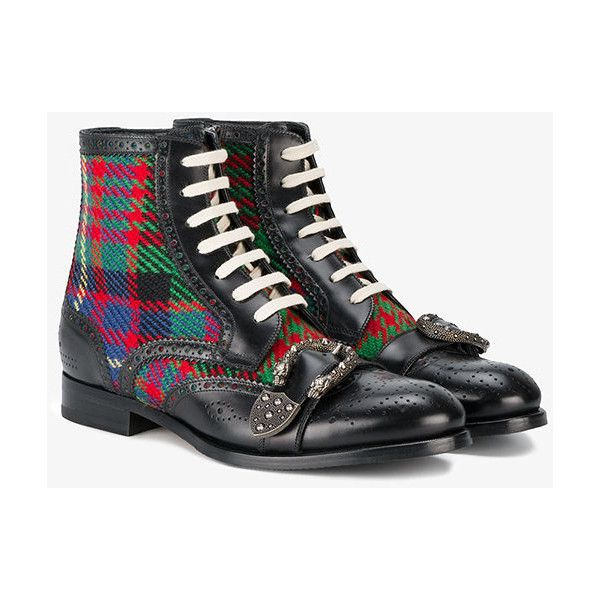 72db70bd9 Gucci Queercore Check Brogue Boots (1,930 CAD) ❤ liked on Polyvore  featuring men's fashion