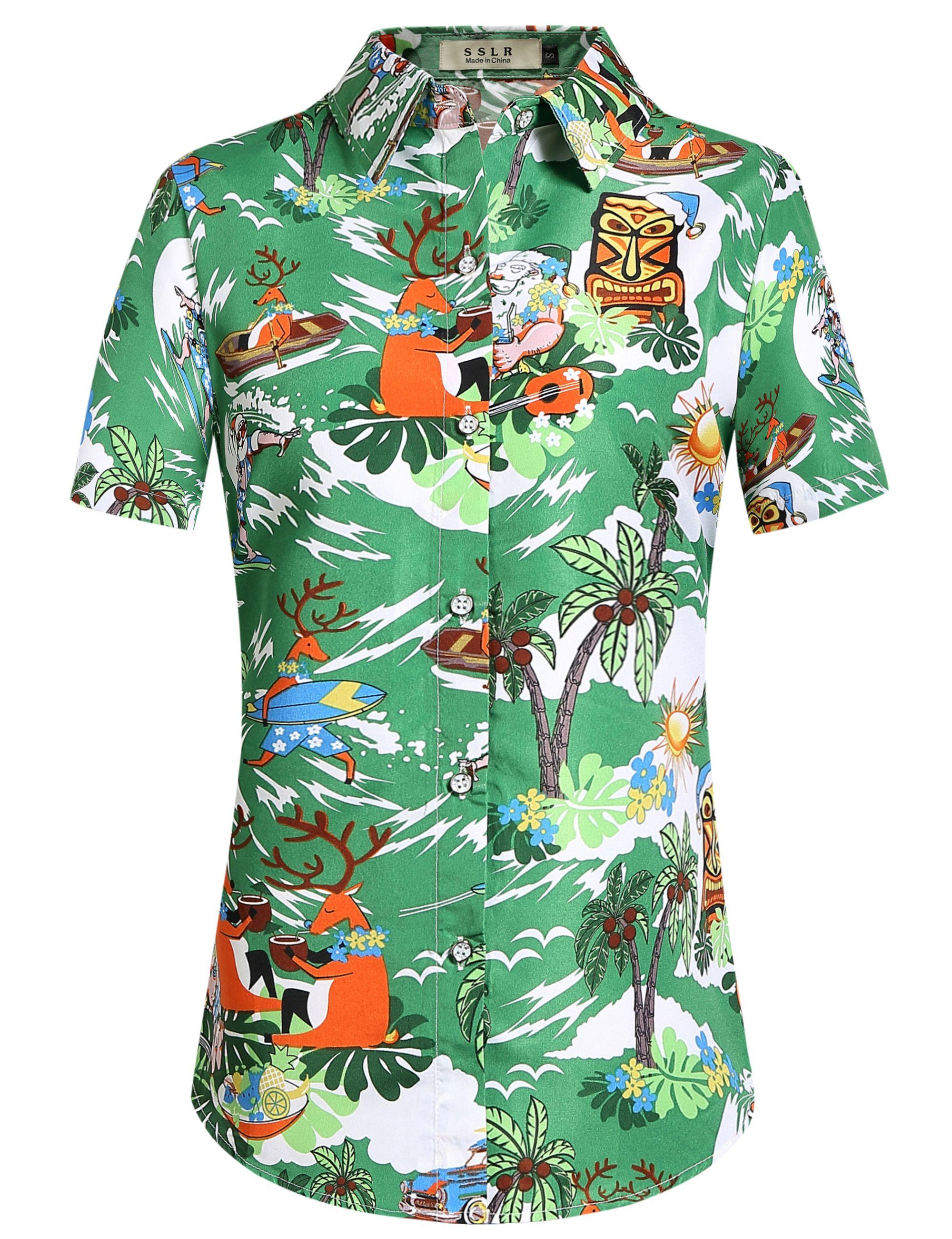 1b2ab636 Women's Santa Claus Party Tropical Ugly Hawaiian Christmas Shirts #christmas  #shirt #women