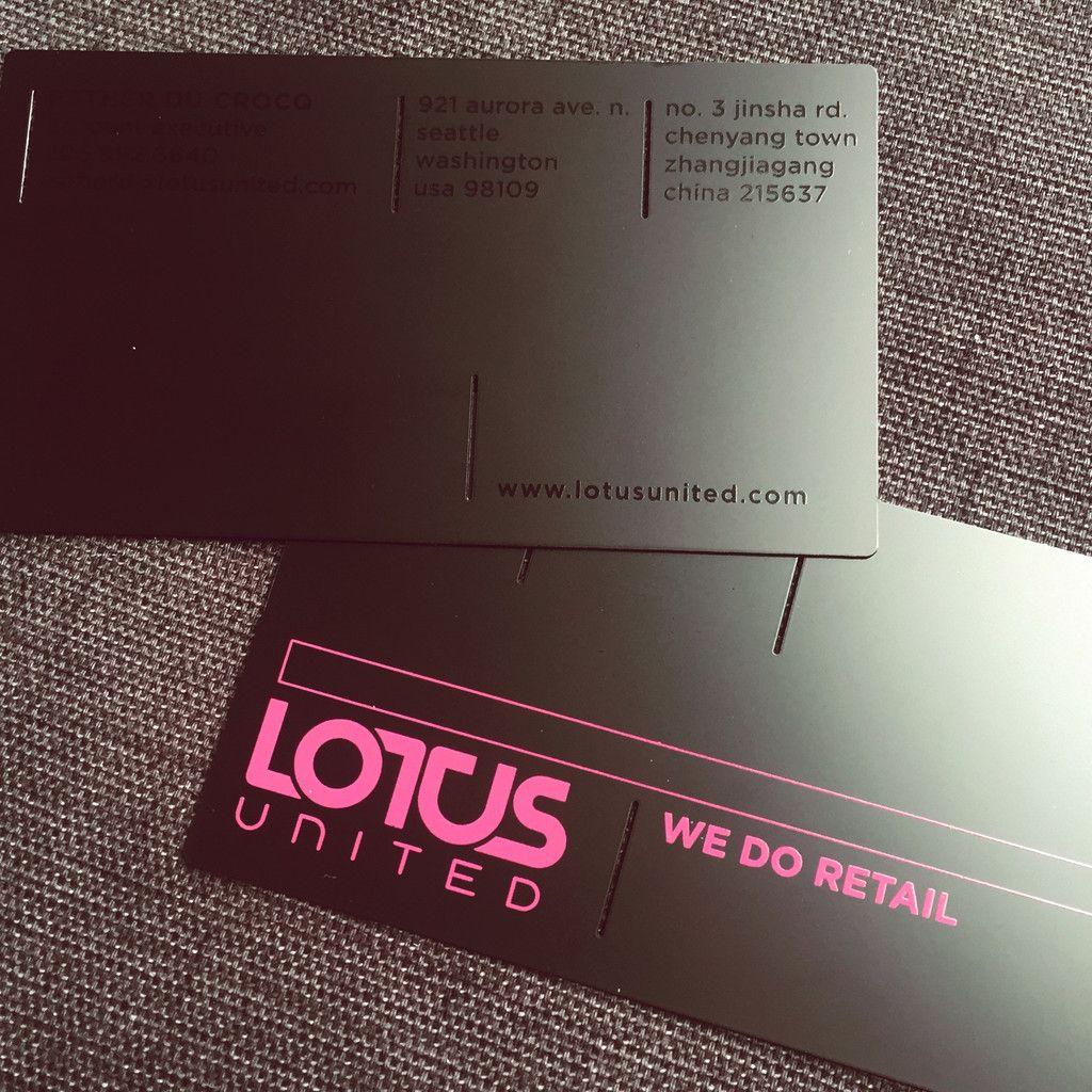 Matt Black Pink Printing Metal Business Card ...