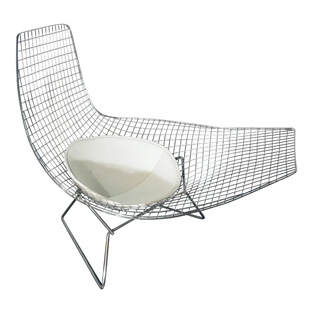 Modern Contemporary Harry Bertoia Style Asymmetrical Lounge Chair Chairish In 2020 Harry Bertoia Contemporary Furniture Chair