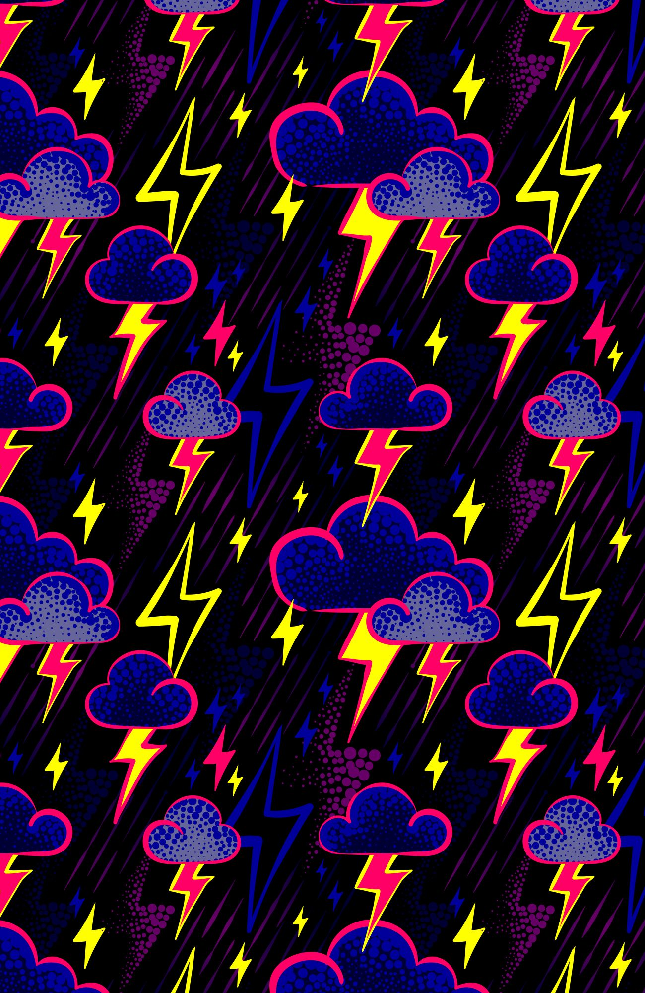 Lightning bolt storm clouds pattern print repeat fabric