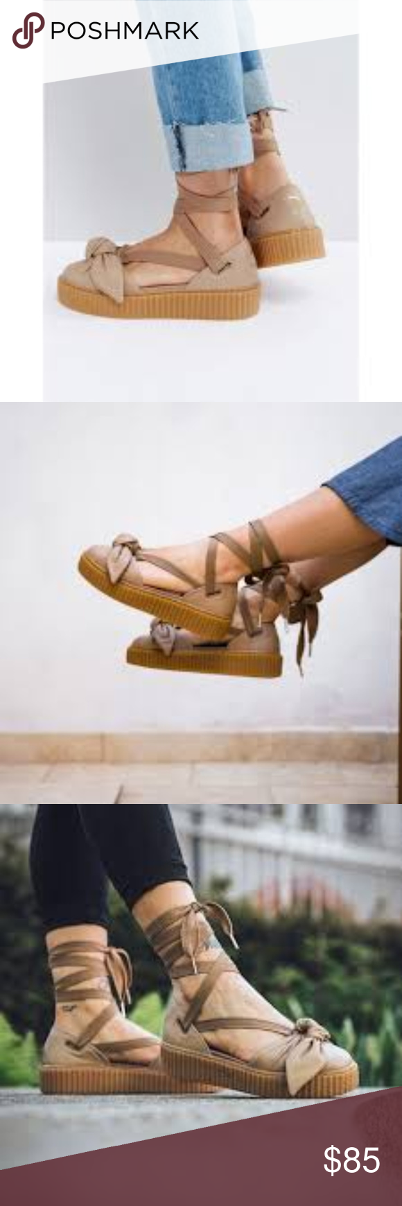 87042604769 Fenty Puma by Rihanna Leather Bow Creeper Sandal New! Fenty Puma by Rihanna  leather creeper sandal in nude color. Stock pics are for styling only.