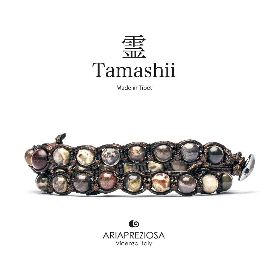 Tamashii - Bracciale Lungo Tradizionale Tibetano 2 giri Agata Paisley