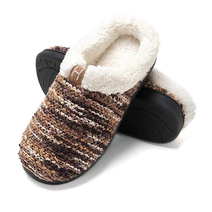 f5a4764fe704 Men s Memory Foam Plush Anti-Skid House Slippers