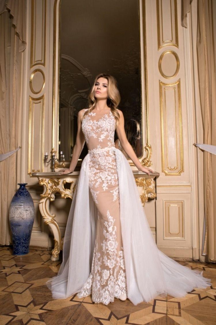 fa729a28a 2019 Vestidos de novia de cuello vaina Tulle con cola desmontable ...