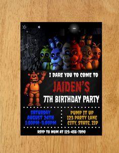 Five Nights At Freddys Birthday Party Invitation