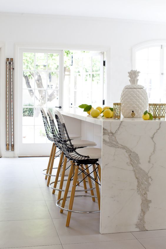 How Beautiful The Waterfall Calacatta Quartz Countertop Is Kitchen Inspirations Kitchen Interior Kitchen Marble