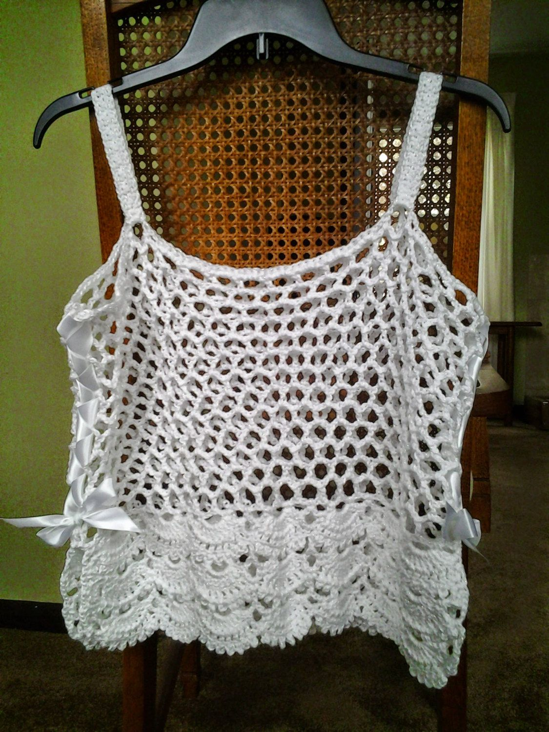 Crochet Floral Camisole In White Sparkle Camisole Pattern
