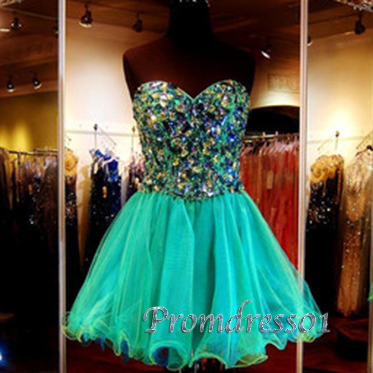 Cyan blue tulle mini rhinestone evening dress,gown #promdress ...