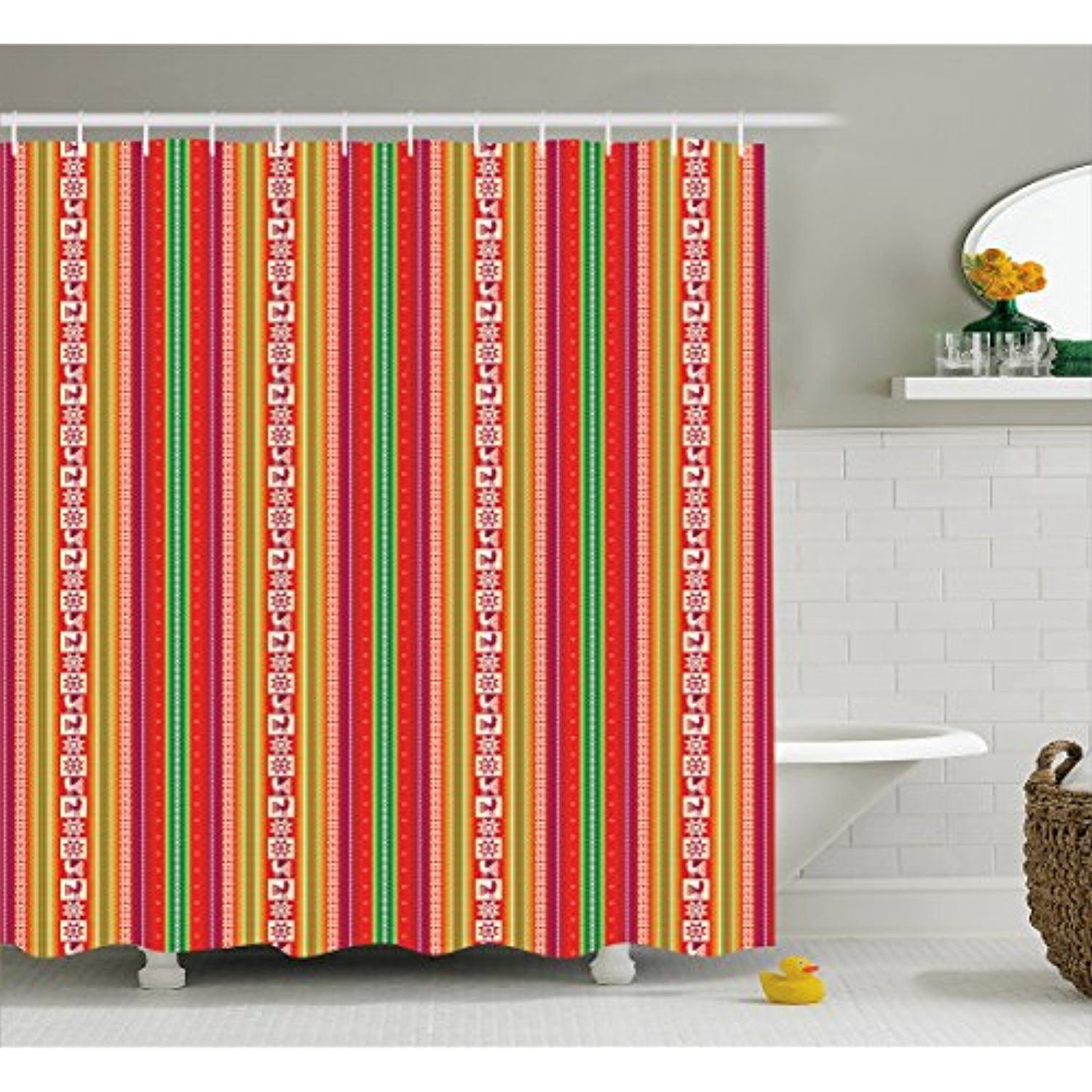 Native American Shower Curtain By Lunarable South American Colorful Pattern With Birds Bolivian Traditional Borders