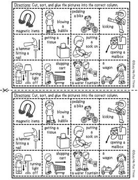 Push or Pull Sort Worksheet Activity a Force and Motion