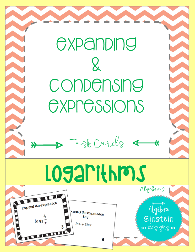 Logarithms - Expand and Condense Task Cards | Algebra, Math and ...