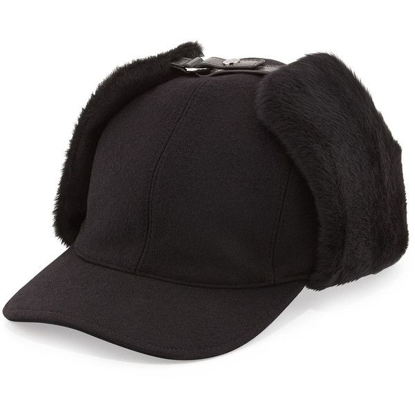 afb602ad0eb Prada Wool and Shearling Trapper Baseball Cap (570 CAD) ❤ liked on Polyvore  featuring