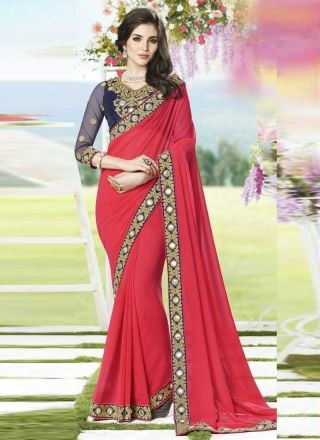 Enticing Red Faux Georgette Resham Border Work Saree http://www.angelnx.com/Sarees/Designer-Sarees