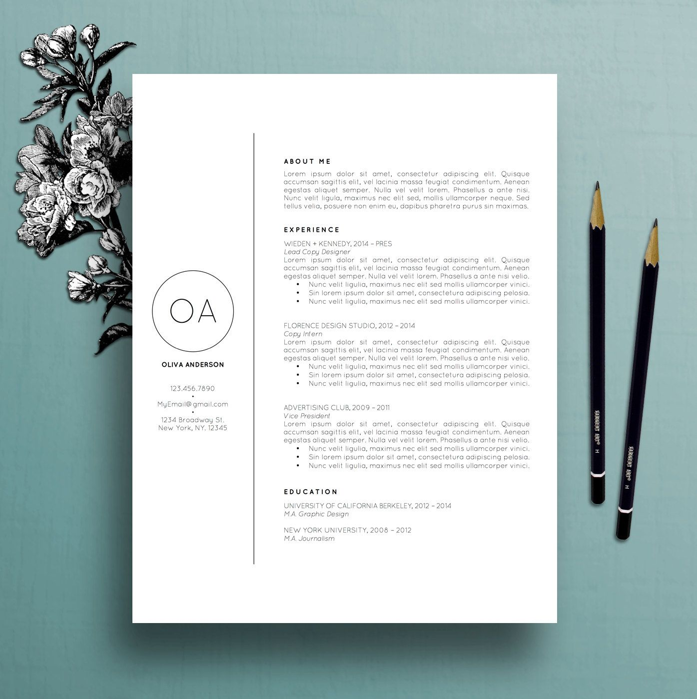 Creative Resume Templates Professional Resume Template  Cv Template  Cover Letter For Ms