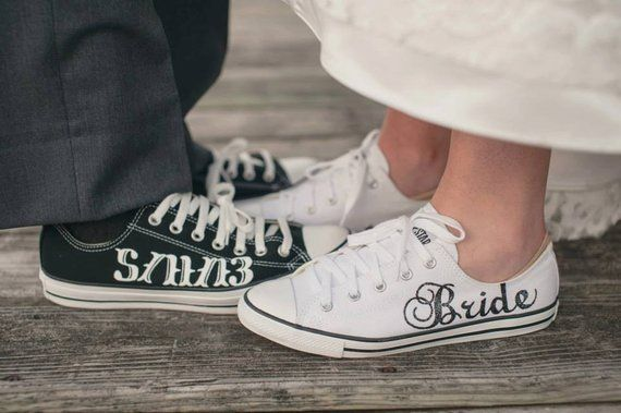 ca9d9b0fa075 MADE TO ORDER - Bride   Groom Wedding Converse in 2019