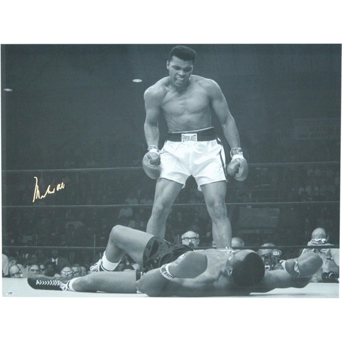 Muhammad Ali Signed Standing Over Liston 20x24 Photo Psadna