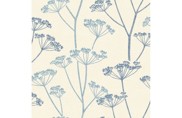 Stunning Blue Feature Cow Parsley Wallpaper From Homebase