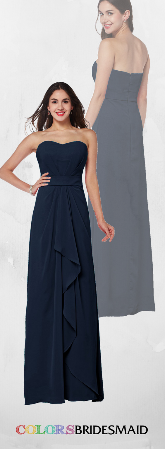 This sweetheart navy blue long bridesmaid dress is sold under
