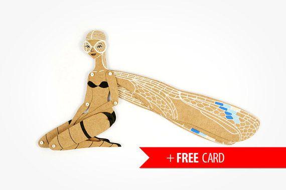 Libélula articulado papel muñeca gratis tarjeta de felicitación hecha a mano títeres caprichosa novia regalo cumpleaños creativo presente bosques belleza