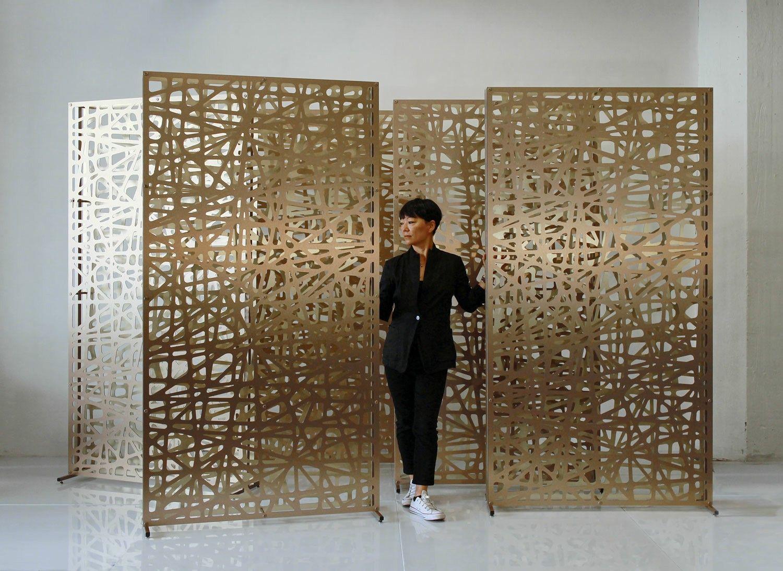 Custom Size 4x7 Double Layer Freestanding Room Divider Screen Bronze Gold Aluminum Composite Panels Freestanding Room Divider Room Divider Screen Room Divider